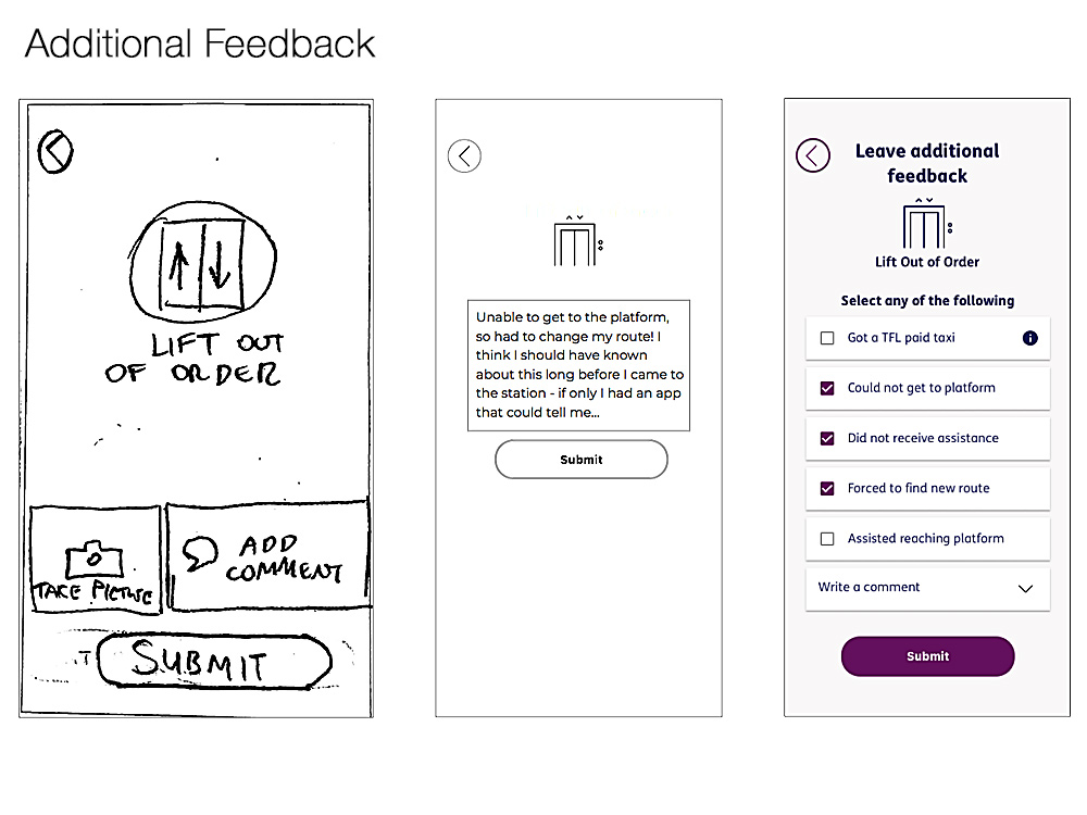 additional feedback screen iterations