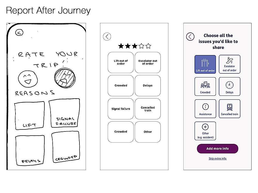 after journey screen iterations